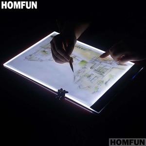 Image 3 - Ultrafinos 3.5mm A4 HOMFUN LED Light Tablet Pad Aplica a UE/REINO UNIDO/AU/EUA/USB plugue Diamante Bordado Pintura Diamante do Ponto da Cruz