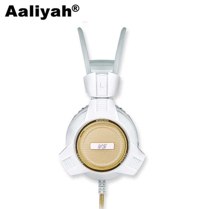 [Aaliyah]Original V5 Gaming Headphone Super Bass Stereo USB Wired Headset Microphone Over Ear Noise Lsolating PC Gamer Headphone super bass gaming headphones with light big over ear led headphone usb with microphone phone wired game headset for computer pc