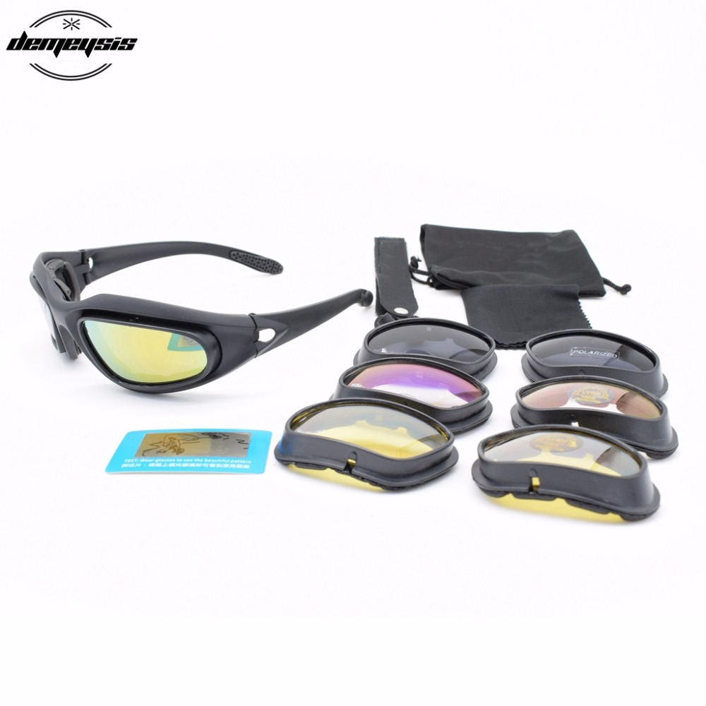 Polarizált sivatagi napszemüveg 4 lencsét védőszemüveg Taktikai C5 szemüveg szemvédelem Airsoft UV400 szemüveghez