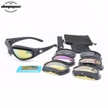 Polarized Desert Sunglasses 4 lenses Goggles Tactical C5 Eyewear Eye Protection For Airsoft UV400 Glasses
