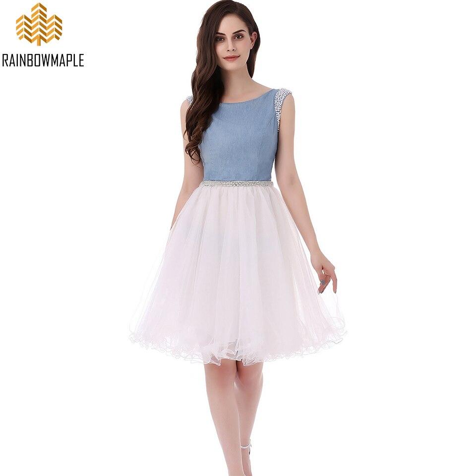Designer Prom Dresses: New Designer Denim Tulle Beaded Short Prom Dresses White