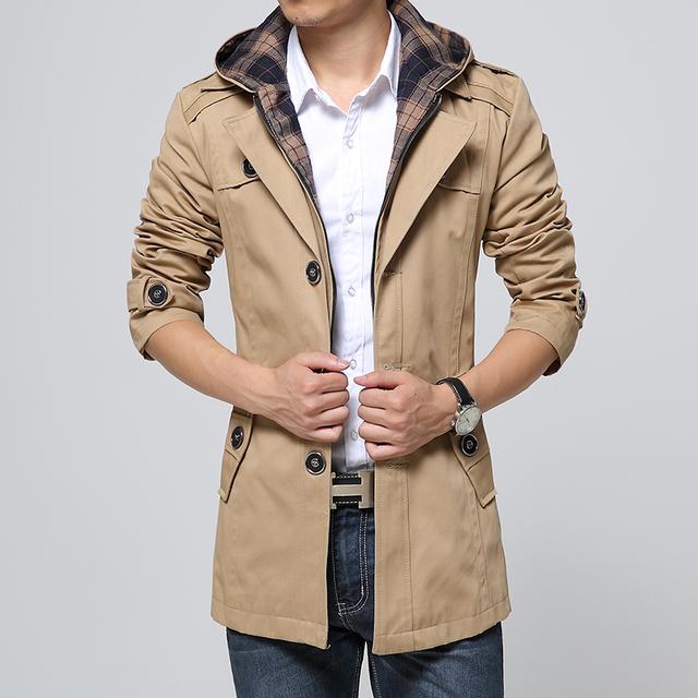 Envío libre 2017 la Primavera y El Otoño nueva extraíble con capucha chaqueta cazadora de Los Hombres