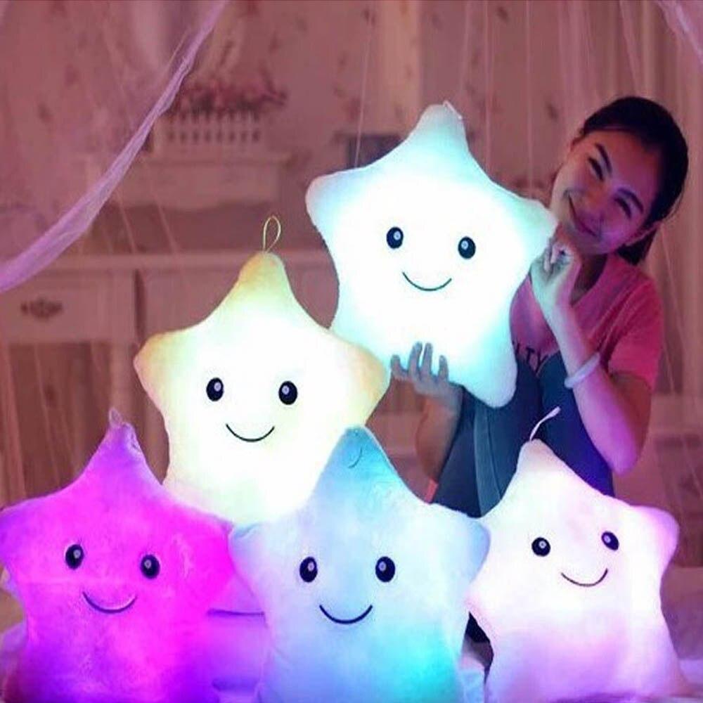1PCS 36X36CM Led Light Luminous Pillow Christmas Toys Hot Colorful Stars Cushion Toys kids Children Festival Birthday Gift