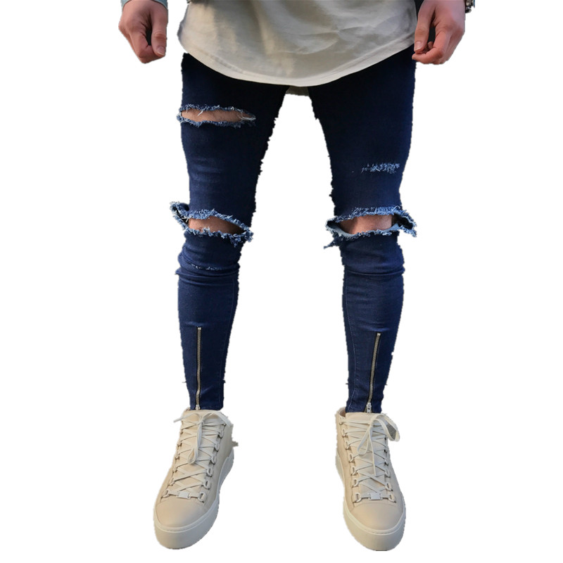 Street Fashion Hiphop Male Slim Fit Jeans Men Knee big Hole Denim Trouser Ripped Beggars Punk Gothic Blue washed Jeans Costumes men s cowboy jeans fashion blue jeans pant men plus sizes regular slim fit denim jean pants male high quality brand jeans