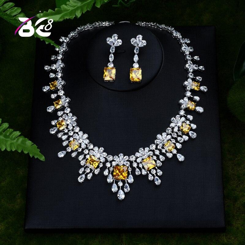Be 8 belle fleur Design cubique zircone pendentif Dubai bijoux ensemble femmes mariée collier boucle d'oreille pour cadeaux de mariage S390