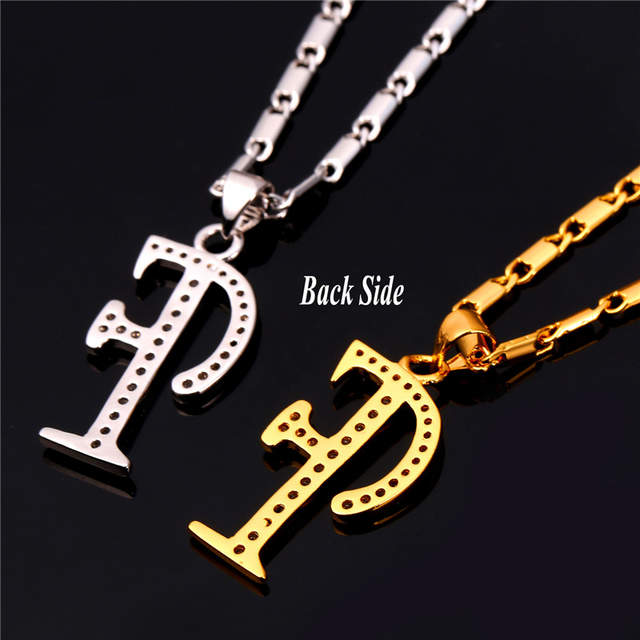 Starlord Initial F Letter Pendants Necklaces Women Men Personalized Gift Alphabet Jewelry Gold Color Necklace