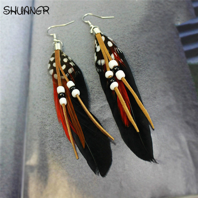 SHUANGR Hot sale Fashion Bohemia Charms Womens Vintage Dangle Earrings Exaggeration Feather Beads Big Drop Earring Jewelry 2017 2