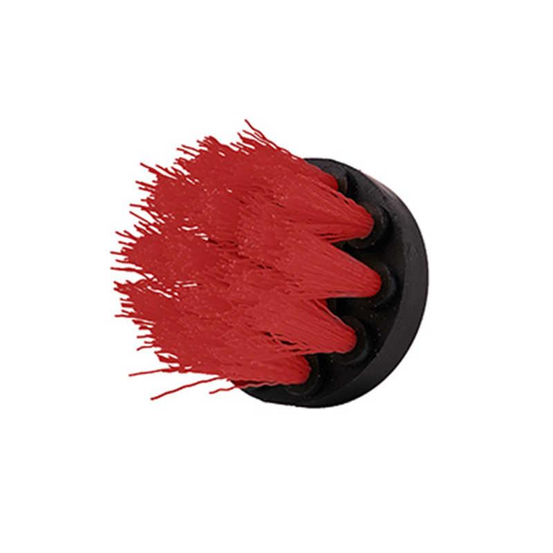 Taladro eléctrico de 2 pulgadas, cepillo de limpieza para cuero, plástico, muebles de madera, para interiores de coche, limpieza potente, Rojo