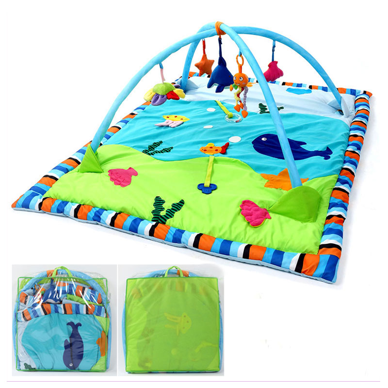 Free ShippingLarge Baby Playmat Rainforest Ocean Baby Gym Activity Play Mat Game Blanket Newborn Crawling Game Pad Support Fitness Toys Rack