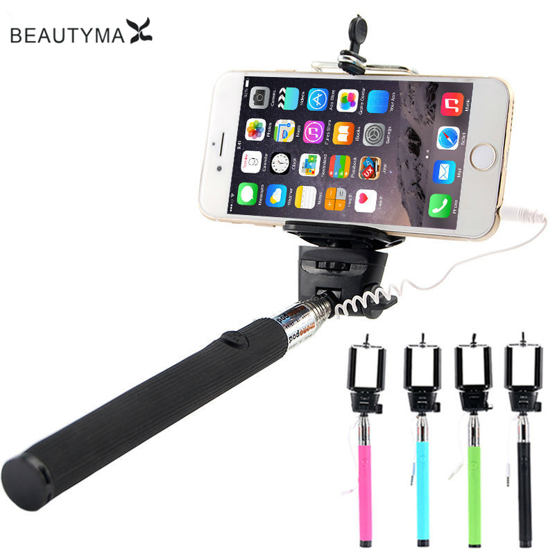 wired monopod selfie stick for iphone 5s 6plus pau de selfie selfish tripod for sumsung galaxy. Black Bedroom Furniture Sets. Home Design Ideas