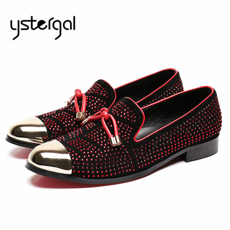 YSTERGAL Full Rhinestone Men Loafers Red Gold Casual Flat Shoes Mens Wedding Dress Shoes Chaussure Homme Espadrilles Flats gram epos men casual shoes top quality men high top shoes fashion breathable hip hop shoes men red black white chaussure hommre