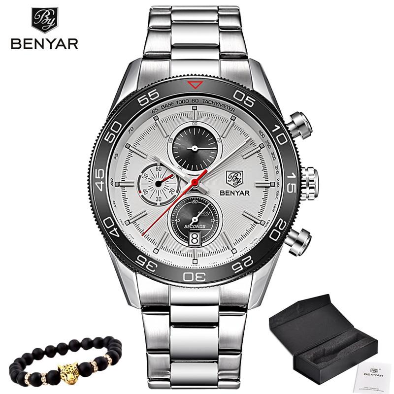 2017 BENYAR Fashion Brand Sports Style Stainless Steel Waterproof Quartz Watch Luxury Wristwatches Mens Watches
