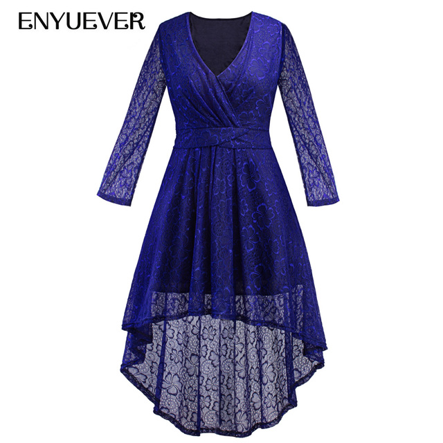 7b70284ce4 Enyuever Autumn Lace Dress Plus Size Women Clothing High Low Vestidos Vintage  Casual Elegant Royal Blue Evening Party Dress 5XL