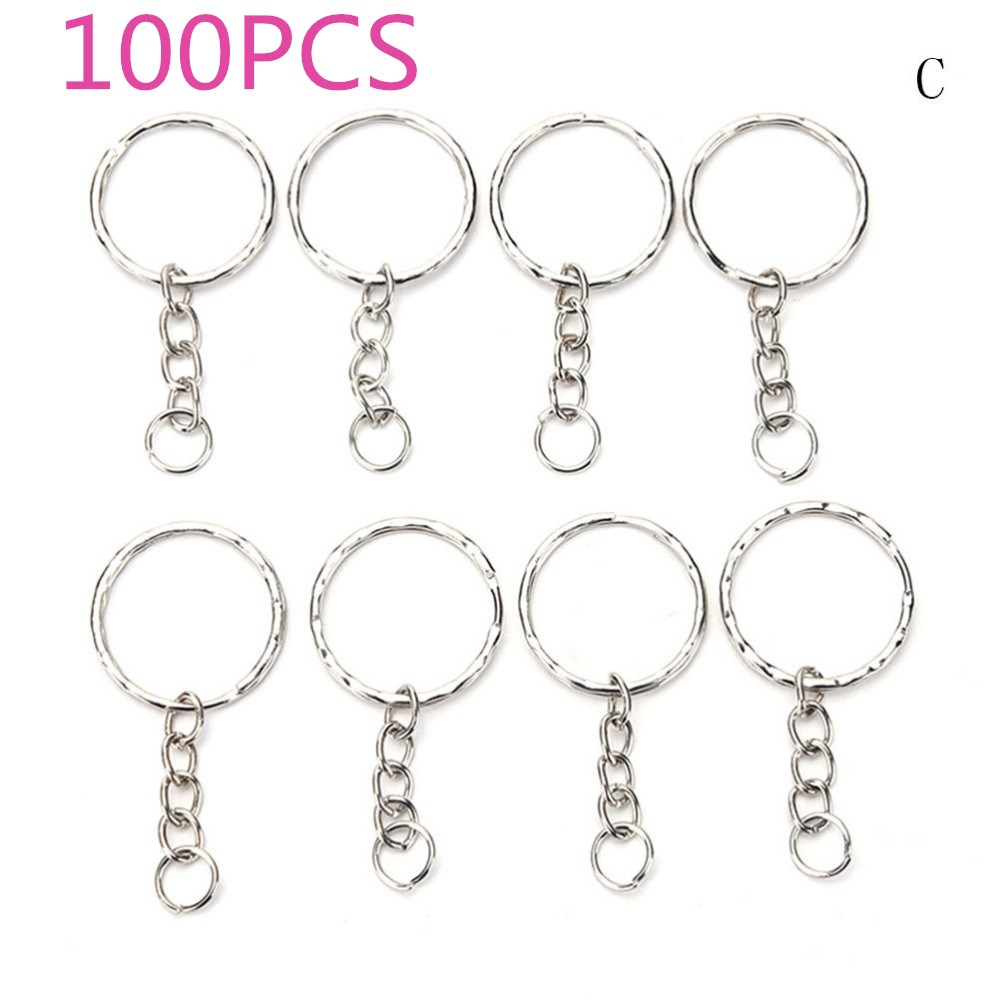 100/50 Pcs/Set Silvery Key Chains Stainless Alloy Circle DIY 25mm Keyrings 3 Styles Jewelry Keychain Key Ring