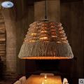 loft American country hemp rope pendant light wicker hand knitted restaurant light living bedroom lamp
