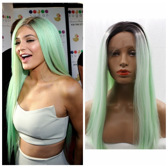 Celebrity 150% density mint green ombre wig 18-26 inch dark root mixed color long straight synthetic lace front wig for women