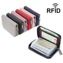 Skóra bydlęca 16 etui na karty zapobieganie RFID wizytownik na karty biznesowe Unisex etui na karty kredytowe ID portfel na karty czerwony różowy niebieski fioletowy czarny