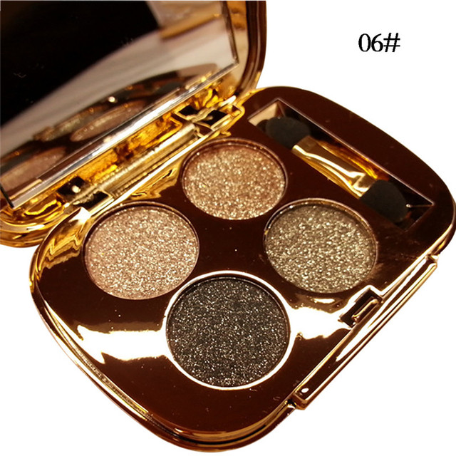 New 4 Colors Gold Smoky Cosmetics Diamond Bright Glitter Eye Shadow  Professional Eye Makeup Eyeshadow Palette 3