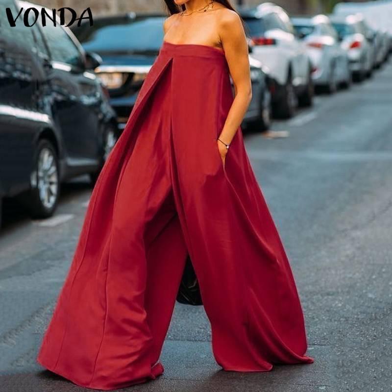 2019 VONDA Rompers Women   Jumpsuits   Sexy Off Shoulder Sleeveless Solid Playsuit Wide Leg Pants Casual Baggy Romper Pantalon Plus