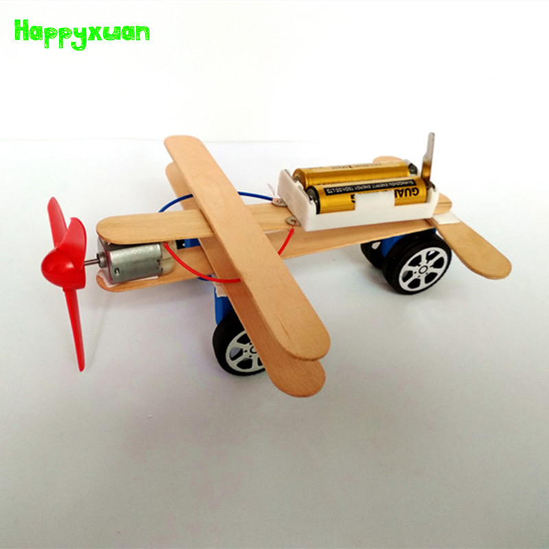 Toddler Toys Physical Toys : Happyxuan diy wind power glide plane model kit wood kids