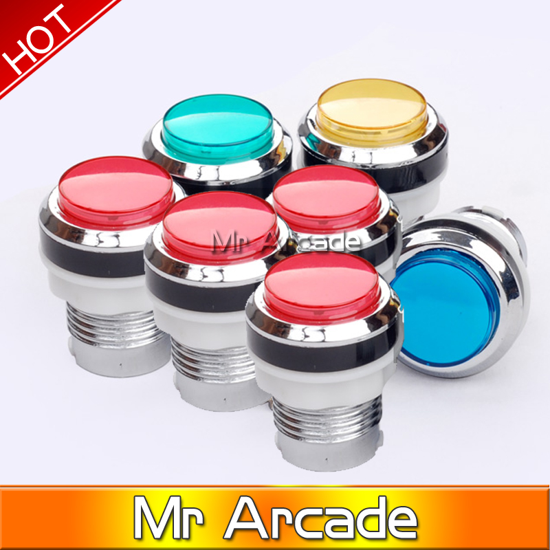 Free shipping CHROME Plated illuminated 12v LED Arcade Push Button with microswitch 5 colors 1pcs