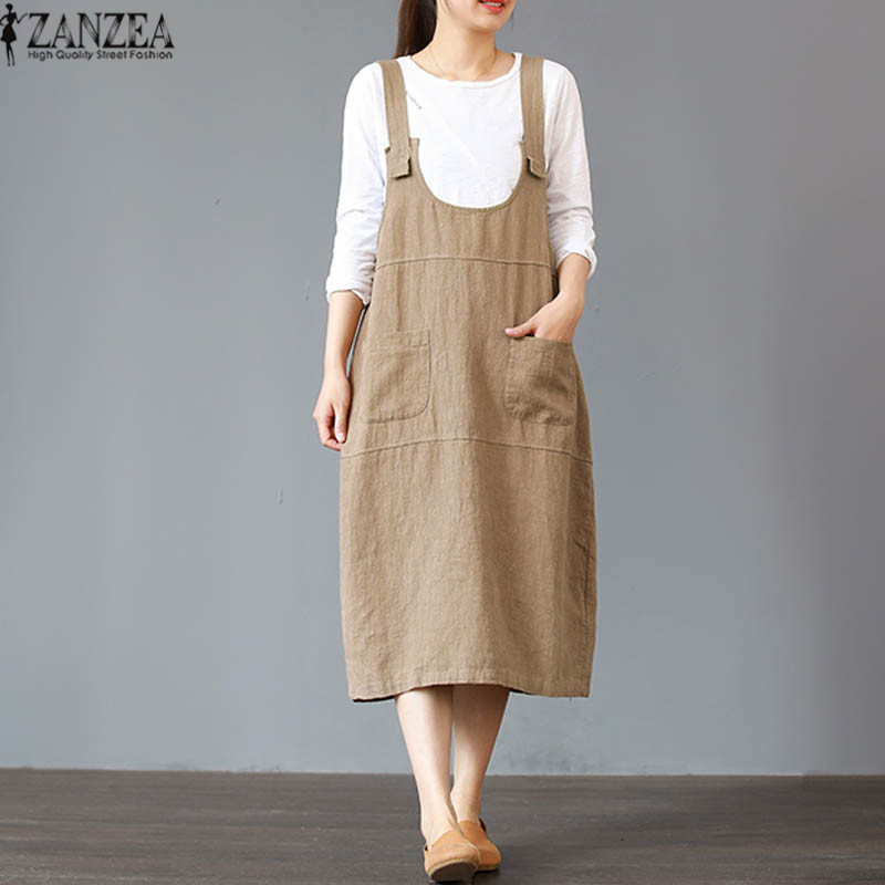 2018 Oversized ZANZEA Casual Sleeveless Strappy Cotton Linen OL Long Dress Summer Women Vintage Solid Baggy Beach Party Vestido