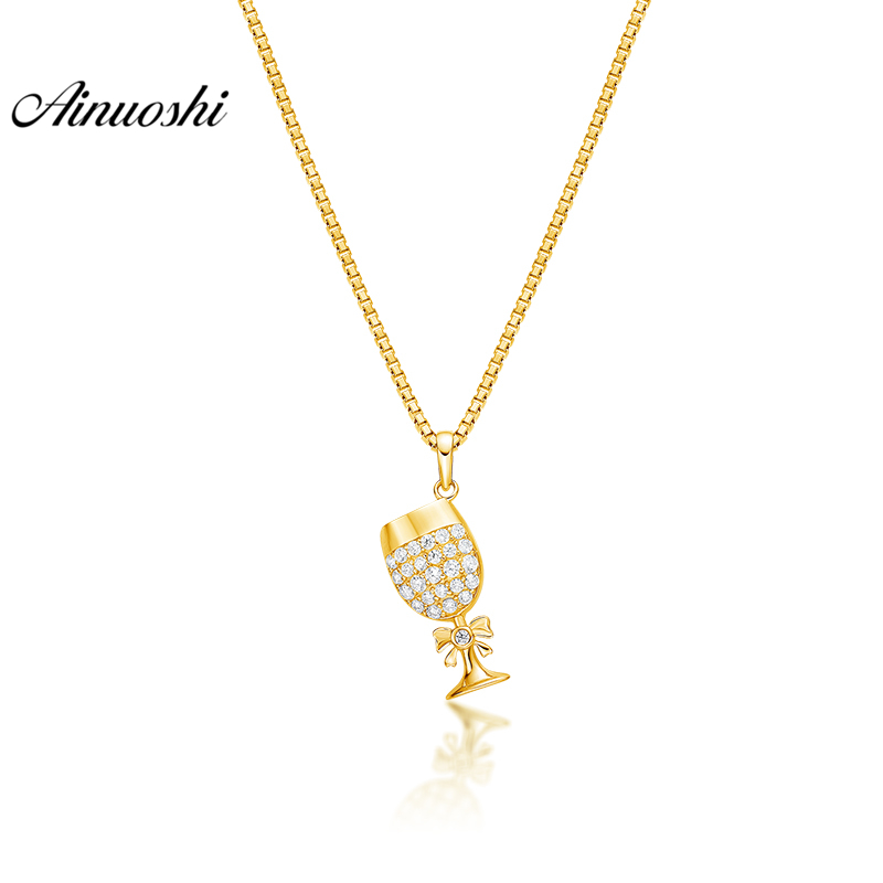 AINUOSHI 10K Solid Yellow Gold Pendant Shining Trophy Cup Pendant SONA Diamond Women Men Jewelry Trophy Design Separate Pendant 2017 new designer korea men s jeans slim fit classic denim jeans pants straight trousers leg blue big size 30 34