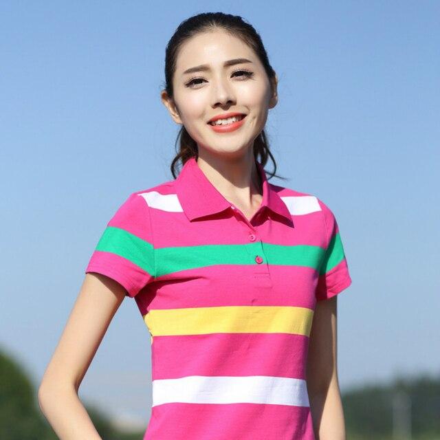 efa1d0cef62 Plus Size Women s Polo Shirt Summer New Ladies Short Sleeve Shirt Cotton Women  Tops Girls Clothes Slim Striped Plus Size Shirt