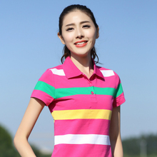 Plus Size Women's Polo Shirt Summer New Ladies Short Sleeve Shirt Cotton Women Tops Girls Clothes Slim Striped Plus Size Shirt