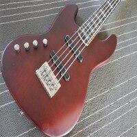 Niestandardowe głupi jasnobrązowy guitarra gitara basowa gitara basowa lewa ręka 4 ciąg gitara instrumento muzyczne
