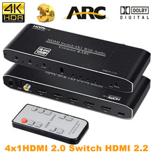 2019 4K HDMI Switch Switcher dengan Remote Optical TOSLINK & Coaxial 4X1 HDR HDMI Switch 4 Port switch HDMI 2.0 untuk PS3 PS4 Pro(China)