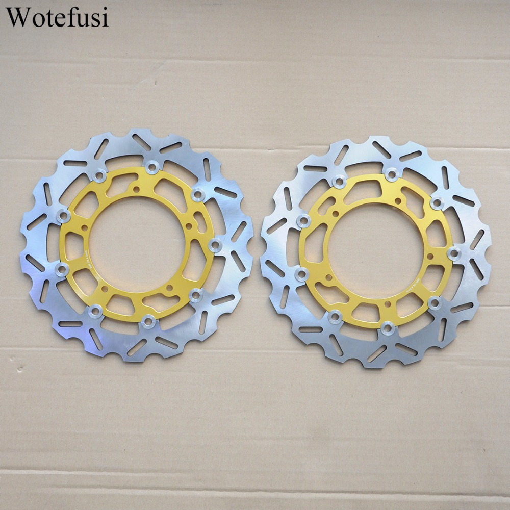 Wotefusi Front Brake Discs For Yamaha 2006 07 08 09 10 11 12 2013 FZ1 FZ1-S FAZER 2004 2005 2006 YZF R1 Gold Balck [PA413-PA414] full set 3pcs motorcycle new black gold 320mm 220mm front rear brake discs rotors rotor for yamaha yzf r1 2004 2005 2006 04 06