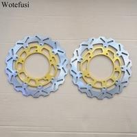 Wotefusi Front Brake Discs For Yamaha 2006 07 08 09 10 11 12 2013 FZ1 FZ1 S FAZER 2004 2005 2006 YZF R1 Gold Balck [PA413 PA414]