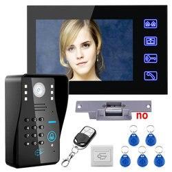 Chave de toque 7 lcd rfid senha vídeo porteiro telefone da porta sistema kit + greve elétrica bloqueio controle remoto sem fio desbloquear