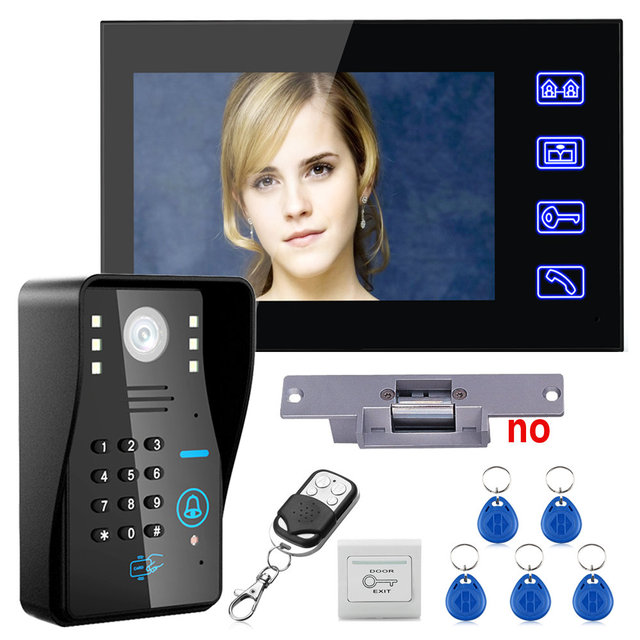 "Touch Key 7"" Lcd RFID Password Video Door Phone Intercom System Kit+ Electric Strike Lock+ Wireless Remote Control unlock"