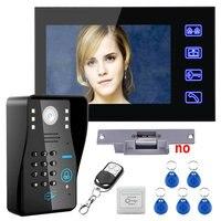 Touch Key 7 Lcd RFID Password Video Door Phone Intercom System Kit+ Electric Strike Lock+ Wireless Remote Control unlock