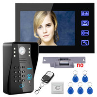 Touch Key 7 Lcd RFID Password Video Door Phone Intercom System Kit+ Electric Strike Lock+ Wireless Remote Control unlock