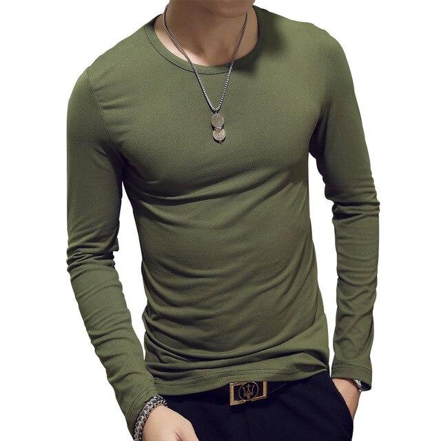 Лидер продаж 2018 новая весна модный бренд v-образным вырезом Slim Fit с длинным рукавом Футболка мужские модные повседневные мужские корейские рубашки