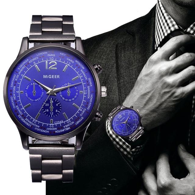 2018 Men Watches Luxury Crystal Stainless Steel Bracelet Analog Quartz Wrist Wat