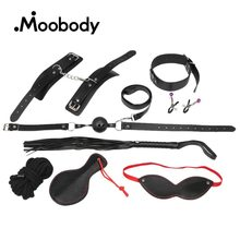 8Pcs SM Leather Handcuff/Mouth Ball/Nipple Clamp/Cotton Rope/Dog Chain/Whip/Blindfold BDSM Flirt Adult Games Sex Toy For Couples