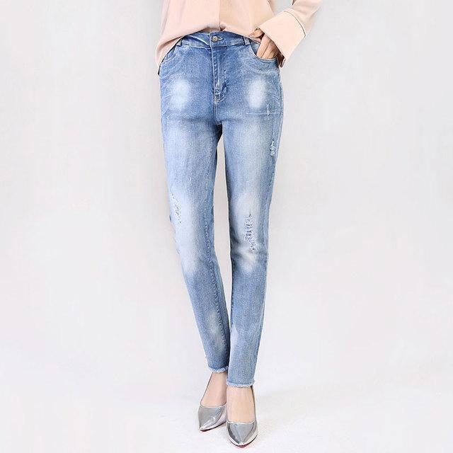 נשים ג 'ינס אביב סתיו ארוך רגיל אופנה גבירותיי מכנסי עיפרון מכירה לוהטת אופנה אמצע מותניים נשי מכנסיים משלוח חינם