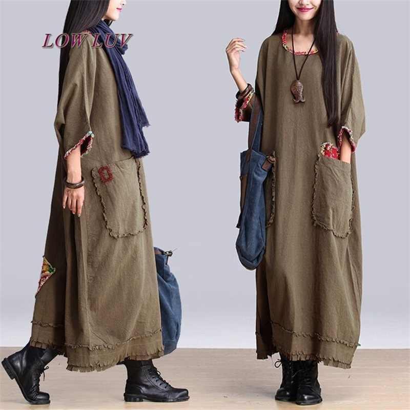 Linen Dress Women Spring Cotton Maxi Dresses Loose Casual Vestidos Plus  Size Women Clothing Long Ethnic 3526d726e132