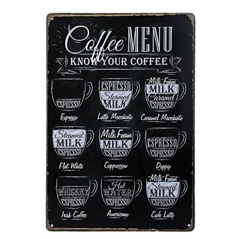 Coffee Metal Tin Sign Cafe Wall Decor Vintage Metal Poster Home Decorative Wall Painting Restaurant Bar Coffee Shop Home Decor
