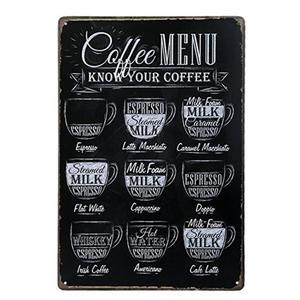 Coffee Metal Tin Sign Cafe Wal