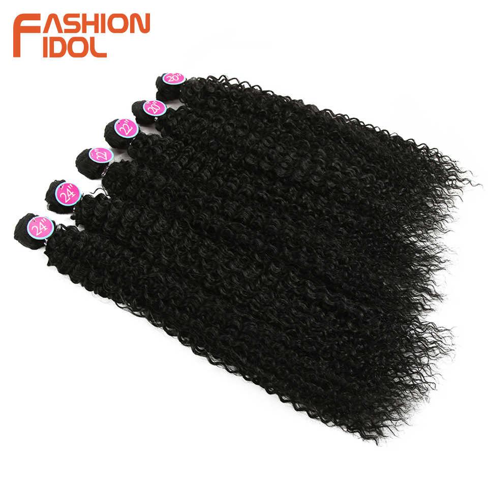 Модные идол афро кудрявые вьющиеся волосы 6 шт. натуральный цвет 20-24 дюймовые бразильские волосы плетение пучков коричневый синтетический волос Бесплатная доставка