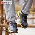 Modyf Hombres color de trabajo puntera de acero zapatos de seguridad de malla respirable ocasional al aire libre botas de calzado a prueba de pinchazos