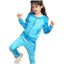 2017 New Autumn Spring Girls Clothes Cartoon Children Casual Round Collar Clothes Kids Clothing Baby Girls T Shirt+pants 2 Pcs
