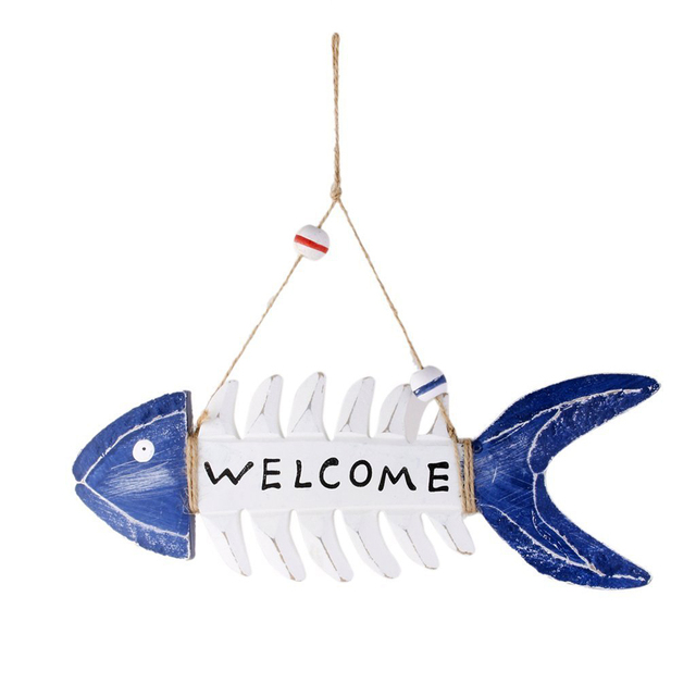 welcome wooden fish skeleton hanging mediterranean style natical wall decor with hemp rope beach theme cafe