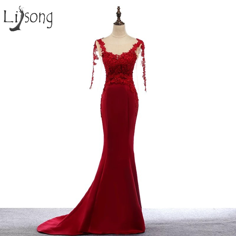 Elegant Red Long Mermaid   Prom     Dresses   2018 With Full Sleeves Appliques Flower Pearls Vintage   Prom   Gowns O-neck Vestido Longo