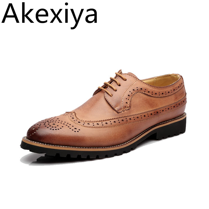 Akexiya Hot Sale Men Leather Shoes Vintage Carving Brogue Oxford Shoes Men Casual Shoes Low Top